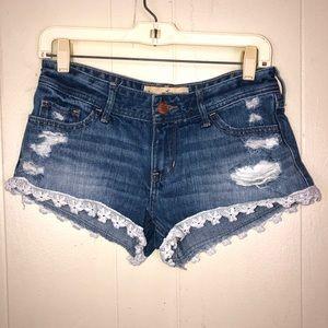 Hollister short shorts denim lace trim 26 sexy